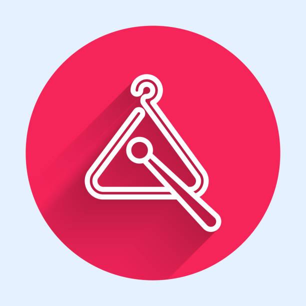 bildbanksillustrationer, clip art samt tecknat material och ikoner med vit linje triangel musikinstrument ikon isolerad med lång skugga. knappen röd cirkel. vektor illustration - triangel slagverksinstrument