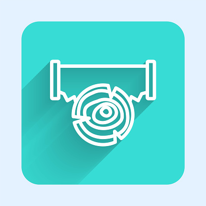 White line Two-handed saw and log icon isolated with long shadow background. Green square button. Vector