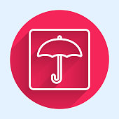 istock White line Umbrella icon isolated with long shadow. Waterproof icon. Protection, safety, security concept. Water resistant symbol. Red circle button. Vector Illustration 1248989063