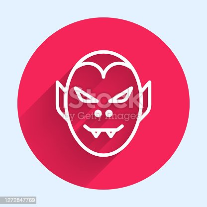 istock White line Vampire icon isolated with long shadow. Happy Halloween party. Red circle button. Vector 1272847769