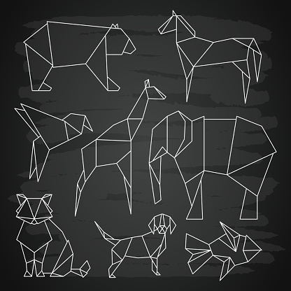 White line vector polygonal wild animals, fish and bird on blackboard