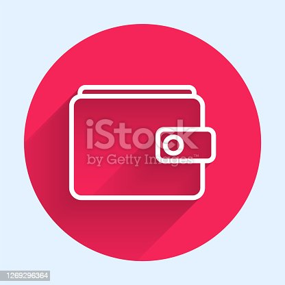 istock White line Wallet icon isolated with long shadow. Purse icon. Cash savings symbol. Red circle button. Vector Illustration 1269296364