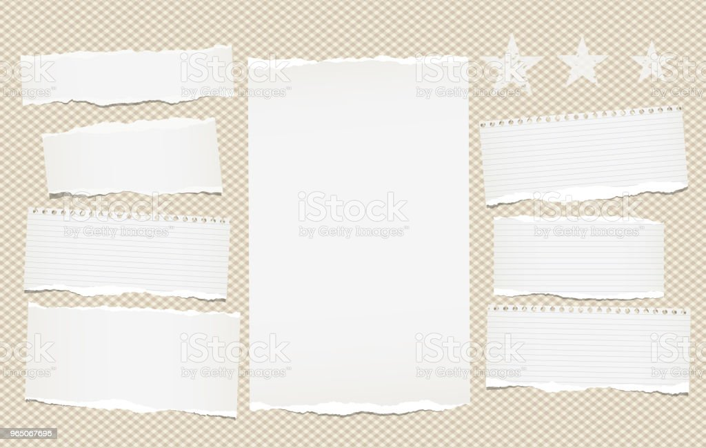 White lined torn note, notebook paper pieces for text stuck on brown squared background with stars. Vector illustration. royalty-free white lined torn note notebook paper pieces for text stuck on brown squared background with stars vector illustration stock vector art & more images of banner - sign