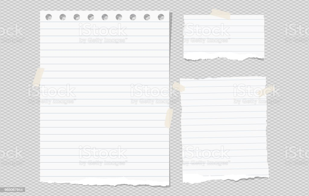White lined torn note, notebook paper pieces for text stuck on gray squared background. Vector illustration. royalty-free white lined torn note notebook paper pieces for text stuck on gray squared background vector illustration stock vector art & more images of banner - sign