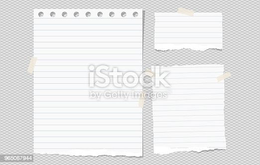 White Lined Torn Note Notebook Paper Pieces For Text Stuck On Gray Squared Background Vector Illustration Stock Vector Art & More Images of Banner - Sign 965067944