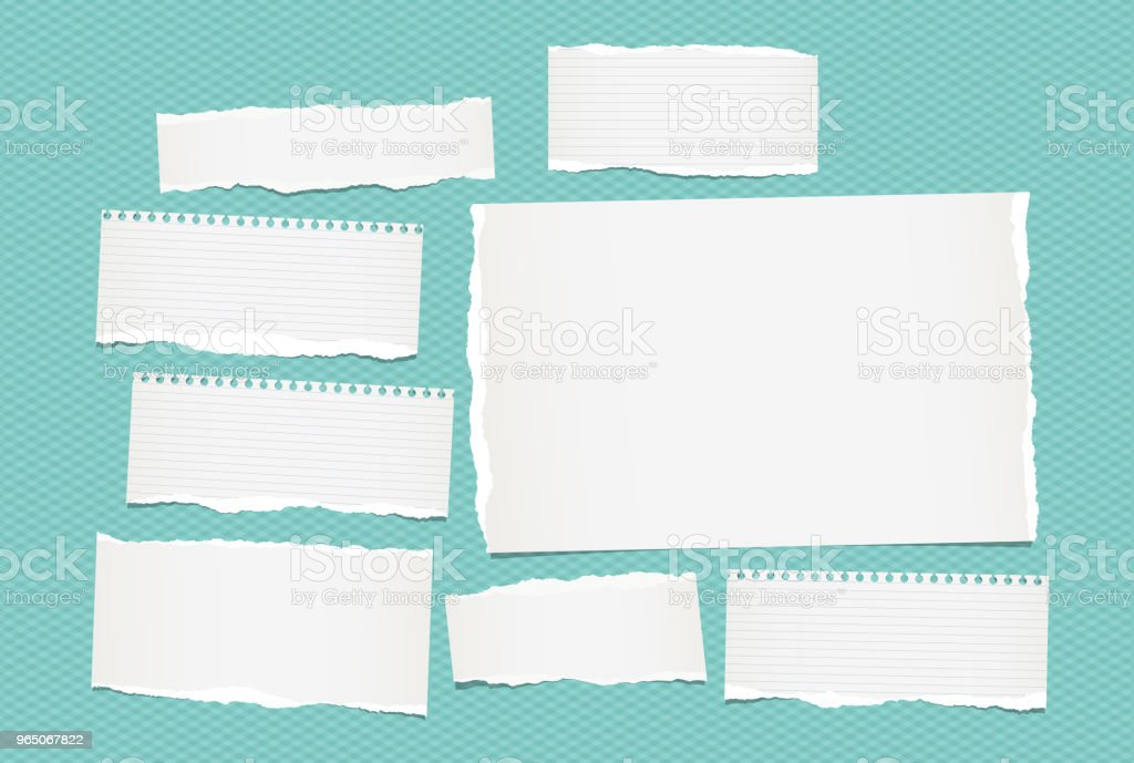 White lined torn note, notebook paper pieces for text stuck on turquoise background. Vector illustration. white lined torn note notebook paper pieces for text stuck on turquoise background vector illustration - stockowe grafiki wektorowe i więcej obrazów baner royalty-free