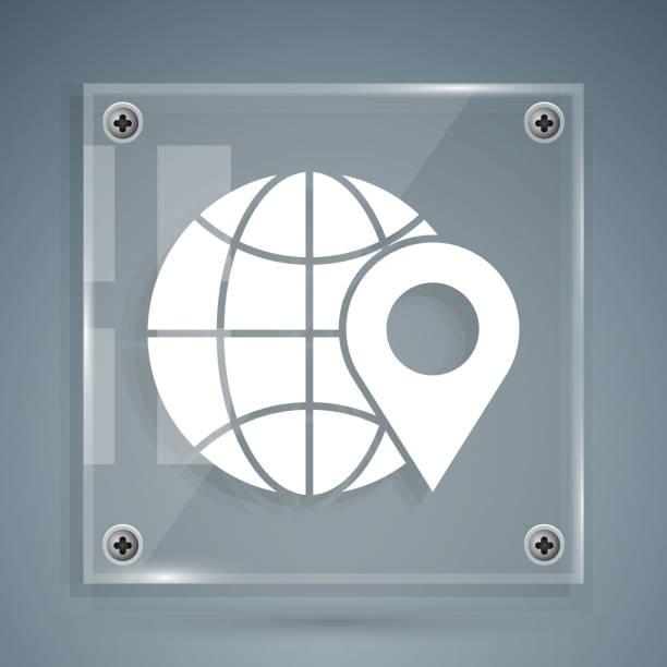 ilustrações de stock, clip art, desenhos animados e ícones de white location on the globe icon isolated on grey background. world or earth sign. square glass panels. vector illustration - europe points