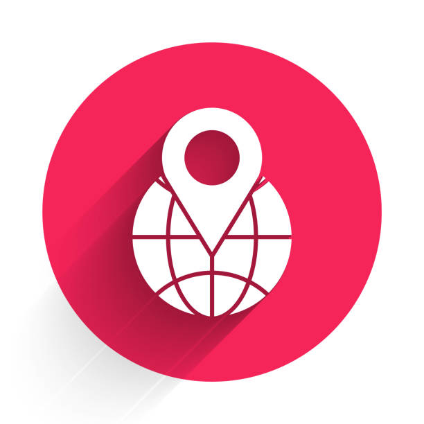 ilustrações de stock, clip art, desenhos animados e ícones de white location on the globe icon isolated with long shadow. world or earth sign. red circle button. vector illustration - europe points