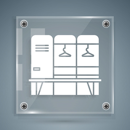 White Locker or changing room for hockey, football, basketball team or workers icon isolated on grey background. Square glass panels. Vector Illustration
