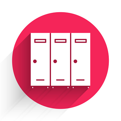 White Locker or changing room for hockey, football, basketball team or workers icon isolated with long shadow. Red circle button. Vector Illustration