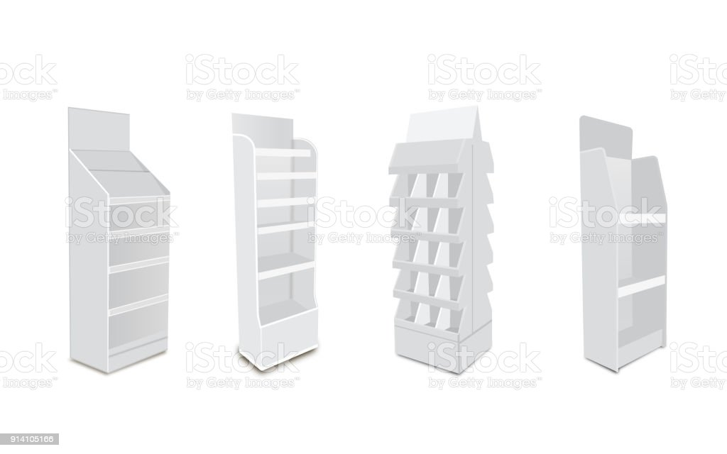 White Long Blank Empty Showcase Displays With Retail Shelves. 3D Products On White Background Isolated. Ready For Your Design Avy Scott vector art illustration