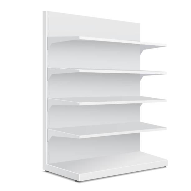 weiße lange leer leere schaufenster-displays mit regalen einzelhandelsprodukte auf weißem hintergrund isoliert. bereit für ihr design. produkt-verpackung. vektor eps10 - kastenständer stock-grafiken, -clipart, -cartoons und -symbole