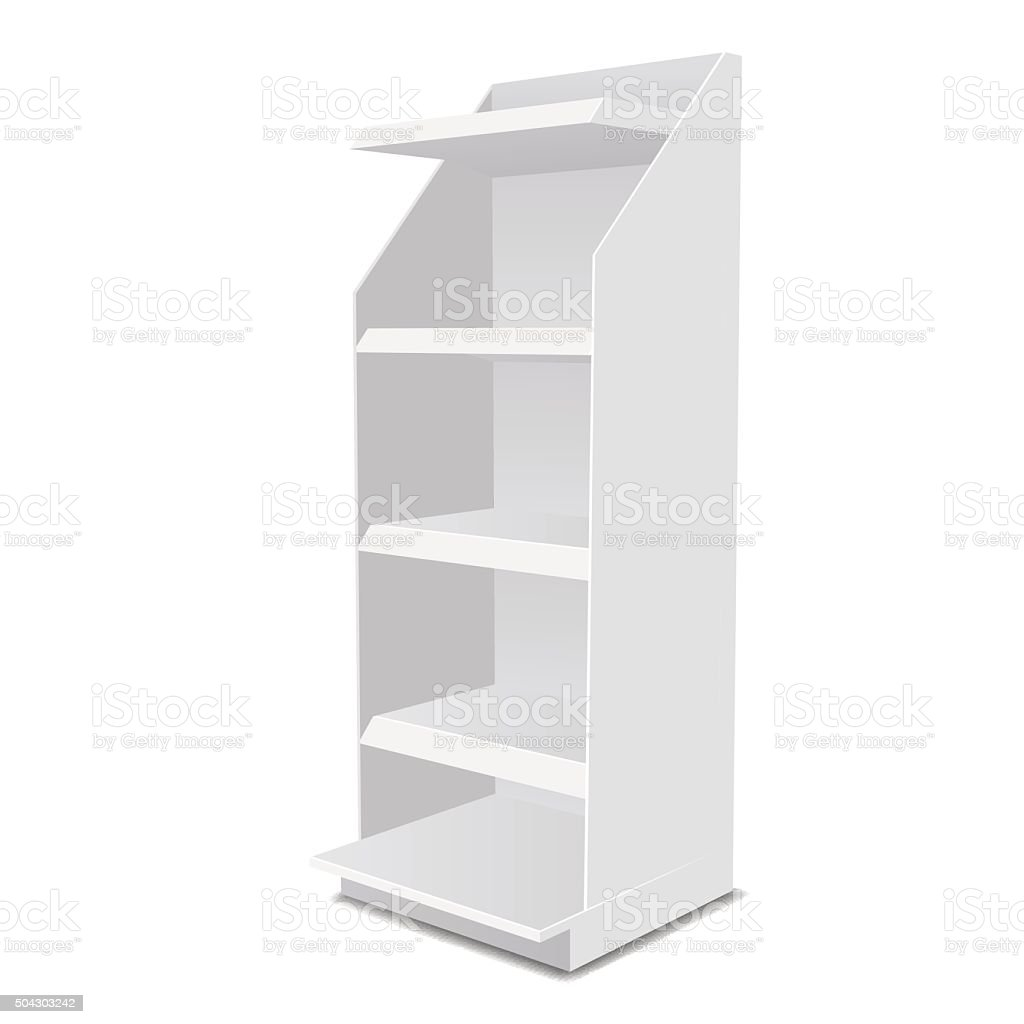 White Long Blank Empty Showcase Displays With Retail Shelves Products vector art illustration