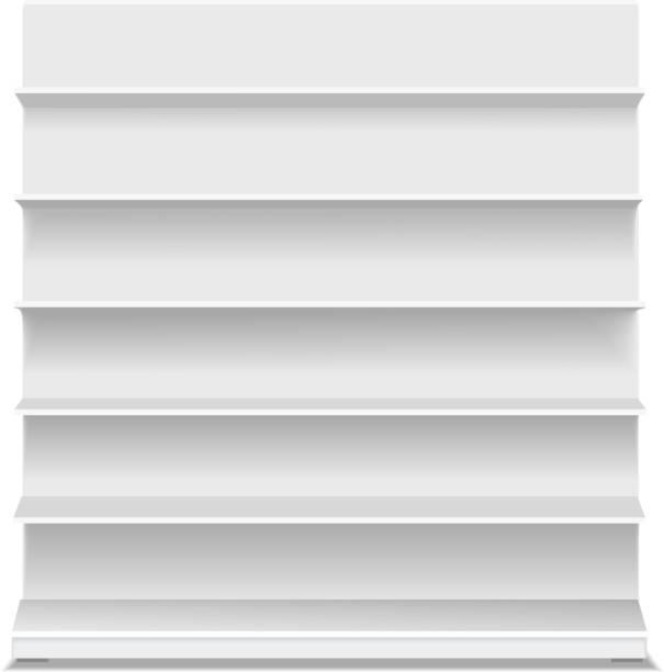 white long blank empty showcase displays with retail shelves - kastenständer stock-grafiken, -clipart, -cartoons und -symbole