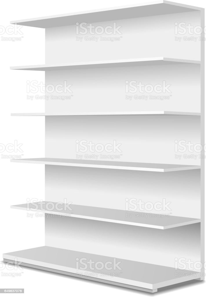 White long empty showcase displays with retail shelves. Perspective view.