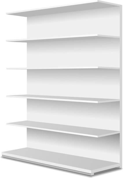 weiße lange leere schaufenster zeigt mit den verkaufsregalen. perspektivische ansicht. - kastenständer stock-grafiken, -clipart, -cartoons und -symbole