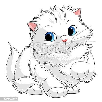Fluffy white kitten. Cartoon kittens series. See more similar kittens in my portfolio.