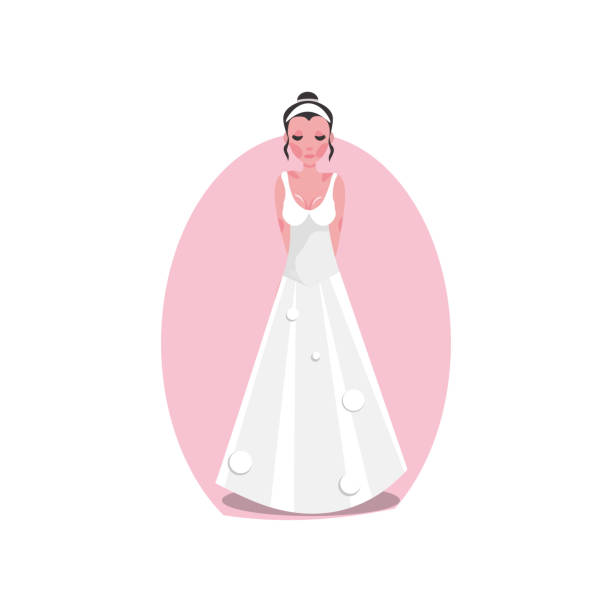 White long modern style wedding dress with a diadem on the young bride. Vector illustration in a flat cartoon style. White long modern style wedding dress with a diadem on the young bride. Wedding dress concept. Isolated vector icon illustration on white background in cartoon style. diademe stock illustrations