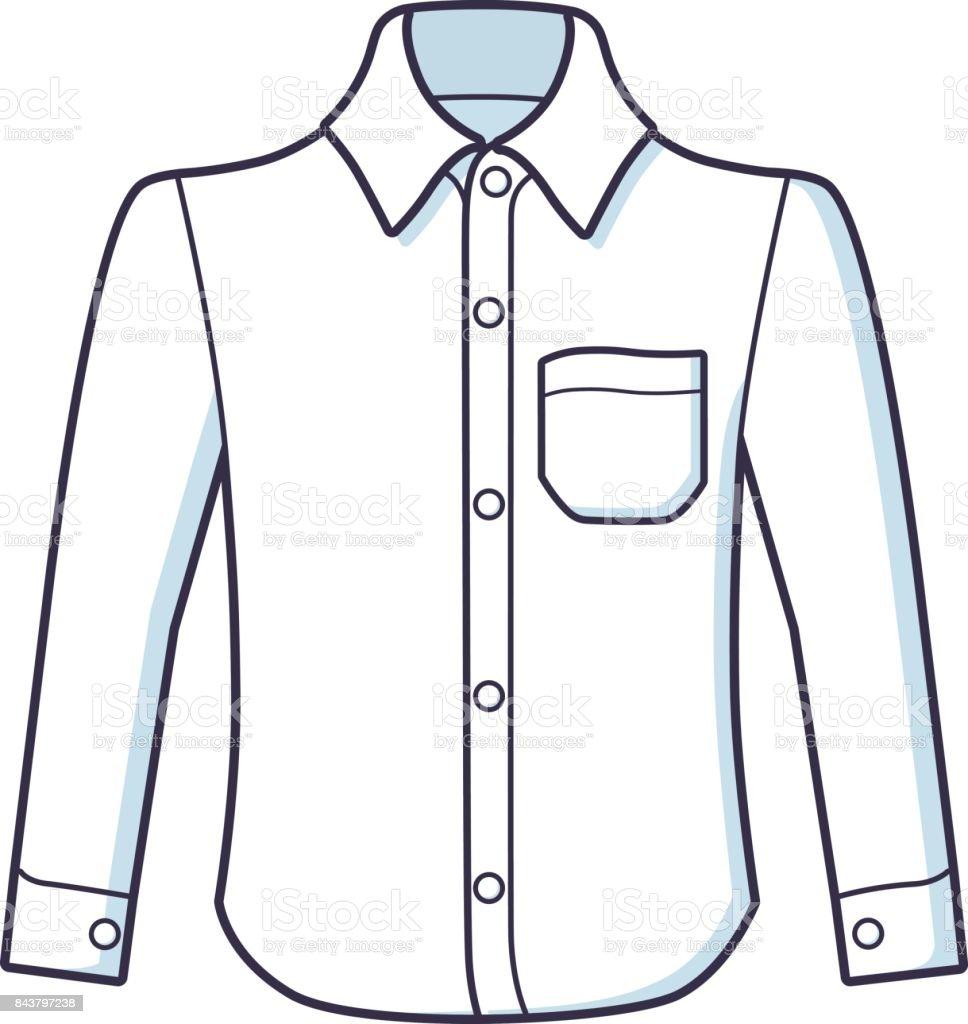 White long sleeve dress shirt vector. vector art illustration