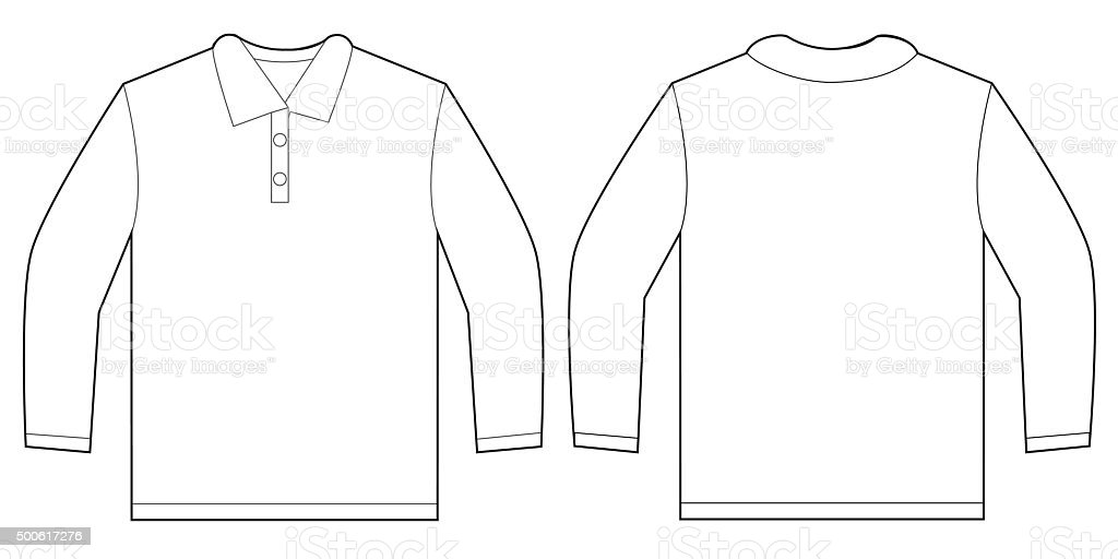 White Long Sleeve Polo Shirt Design Template Stock Vector
