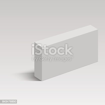 white long square cardboard box vector template paper container for