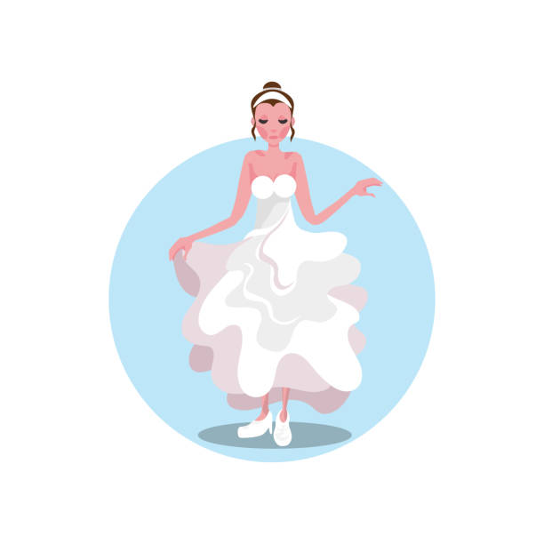 White long wedding dress, shoes and diadem on young bride White long modern style wedding dress with open shoulders, shoes and diadem on young beautiful bride. Vector illustration background. Luxury bridewear in classical and modern fashion style concept diademe stock illustrations