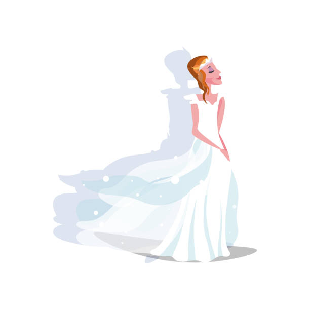 White long wedding dress with hems and diadem on bride White long modern style wedding dress with layered transparent hems and diadem on young bride. Vector illustration background. Luxury bridewear in classical and modern fashion style concept diademe stock illustrations