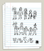 White Looseleaf Paper with Doodle Drawings