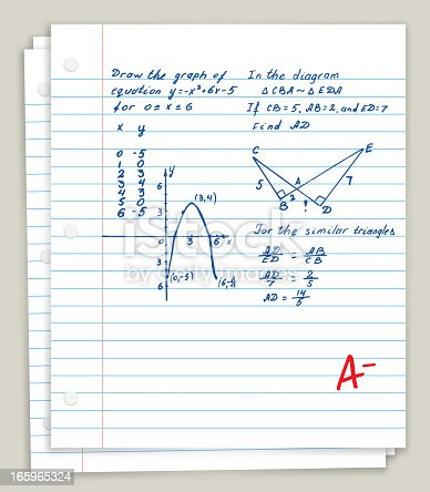 White Looseleaf Paper with math homework
