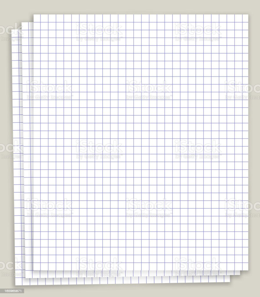 White Looseleaf squared math Paper royalty-free stock vector art
