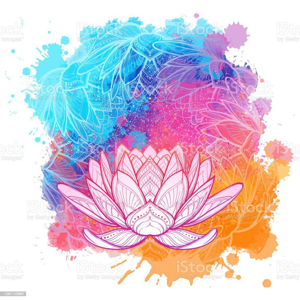 Fleur De Lotus Blanc Dessin Lineaire Sur Un Fond Texture Aquarelle