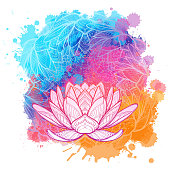 White lotus flower linear drawing on a watercolor textured background. Isolated on a white background. Postcard template, textile print. EPS10 vector illustration