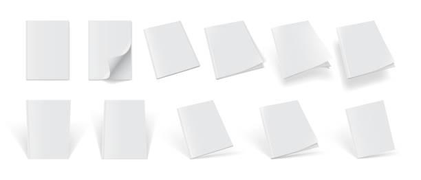 biały magazynek na białym tle makiety wektora - pustka stock illustrations