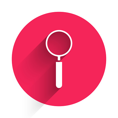 White Magnifying glass icon isolated with long shadow. Search, focus, zoom, business symbol. Red circle button. Vector Illustration