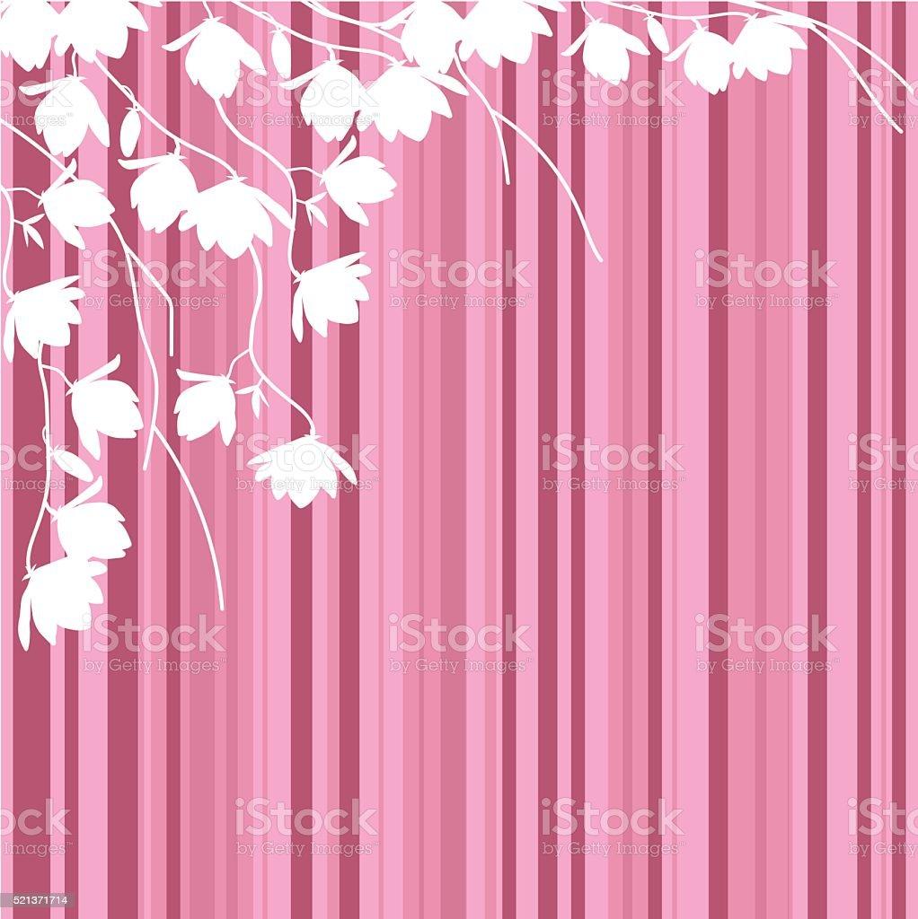 Bianco Magnolia Rami Su Sfondo A Righe Rosa Immagini Vettoriali
