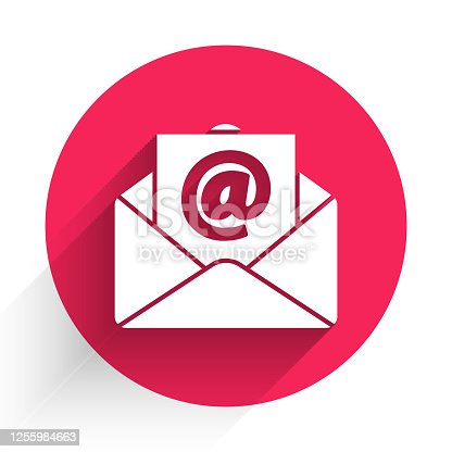 istock White Mail and e-mail icon isolated with long shadow. Envelope symbol e-mail. Email message sign. Red circle button. Vector Illustration 1255984663