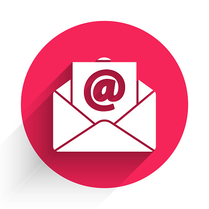 White Mail and e-mail icon isolated with long shadow. Envelope symbol e-mail. Email message sign. Red circle button. Vector Illustration