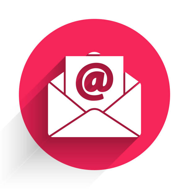 White Mail and e-mail icon isolated with long shadow. Envelope symbol e-mail. Email message sign. Red circle button. Vector Illustration White Mail and e-mail icon isolated with long shadow. Envelope symbol e-mail. Email message sign. Red circle button. Vector Illustration blue clipart stock illustrations