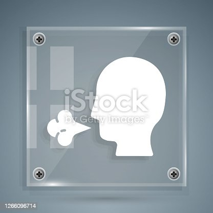 istock White Man coughing icon isolated on grey background. Viral infection, influenza, flu, cold symptom. Tuberculosis, mumps, whooping cough. Square glass panels. Vector Illustration. 1266096714