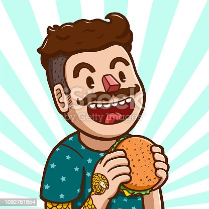 Vector illustration of a white man preparing to eat hamburger
