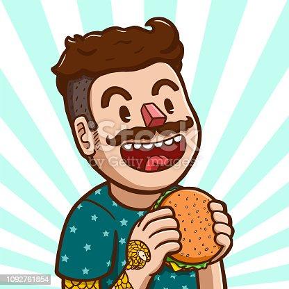 Vector illustration of a white man preparing to eat hamburger