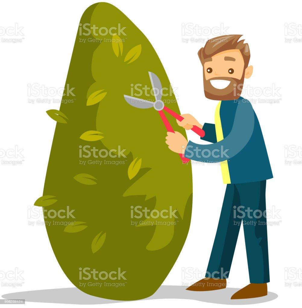 Ilustración de Un Jardinero De Hombre Blanco Cortar Un árbol Con ...