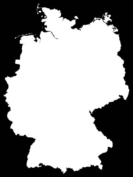 White Map of Germany on Black Background Vector Illustration of the White Map of Germany on Black Background essen stock illustrations