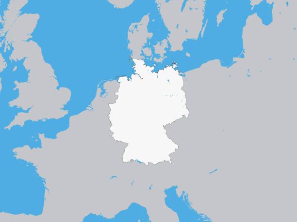 bildbanksillustrationer, clip art samt tecknat material och ikoner med vit karta över tyskland med omgivande terräng - germany map leipzig