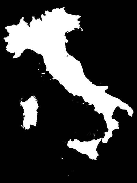 white map of italy on black background - padua stock-grafiken, -clipart, -cartoons und -symbole