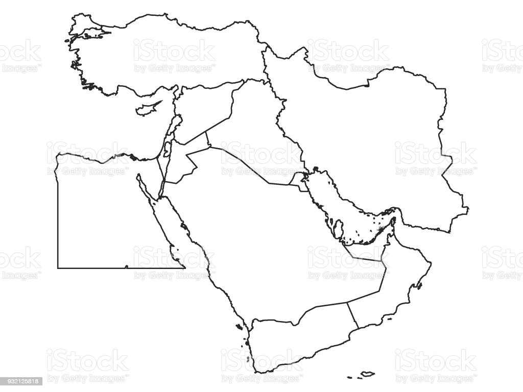 Picture of: White Map Of Middle East Stock Illustration Download Image Now Istock