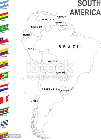 White map of South America with flag against white background. The url of the reference to political map is: http://www.lib.utexas.edu/maps/world_maps/united_states_foreign_service_posts-september_2011.pdf