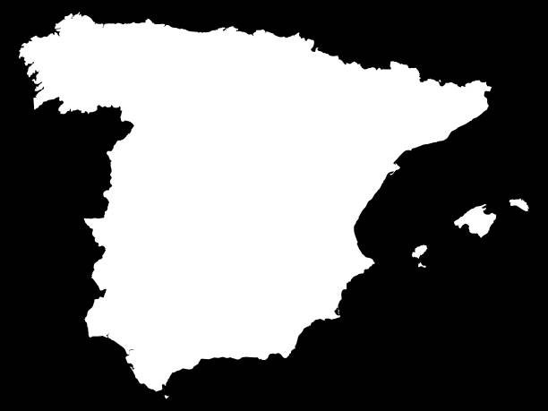 white map of spain on black background - alicante stock-grafiken, -clipart, -cartoons und -symbole