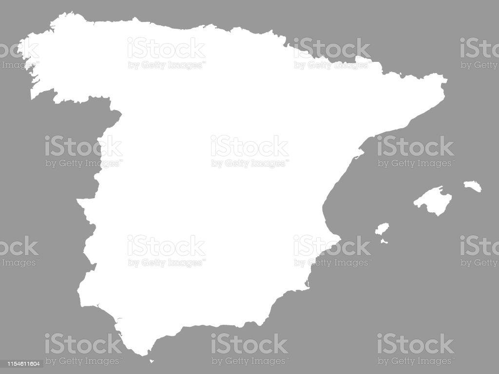 Carte Espagne Bilbao.Carte Blanche De Lespagne Sur Le Fond Gris Vecteurs Libres