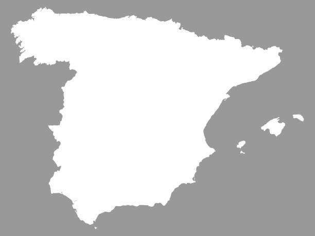 white map of spain on gray background - alicante stock-grafiken, -clipart, -cartoons und -symbole